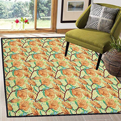 Green Vintage Jade (Floral Natural Fiber Area Rug,Vintage Magnolia Flower in Watercolor Exotic Foliage Gardening Plants Durable and Resistant to Soiling Pale Orange Jade Green 59