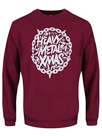 grindstore mens heavy metal christmas sweater burgundy - Metal Christmas Sweater