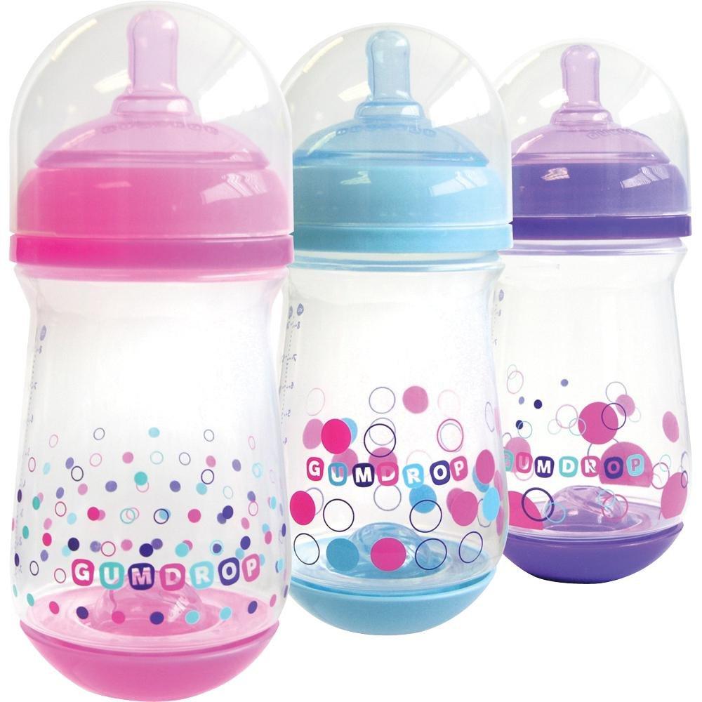 gumdrop gentlevent anti colic baby bottles 240ml 3 pack girl