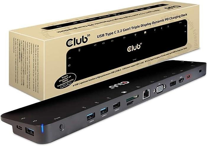 Club 3D USB C 3.2 Gen1 Universal Triple 4K Charging Dock - for Notebook/Tablet/Smartphone - 60 W - USB 3.2 (Gen 1) Type C - 6 x USB Ports - Network (RJ-45) - HDMI - DisplayPort - Audio Line Out - Micr