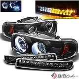 For 1999-2006 GMC Sierra, 2000-2006 Yukon Black Halo Projector Headlights + Bumper Lights w/DRL LED Set 2001 2002 2003