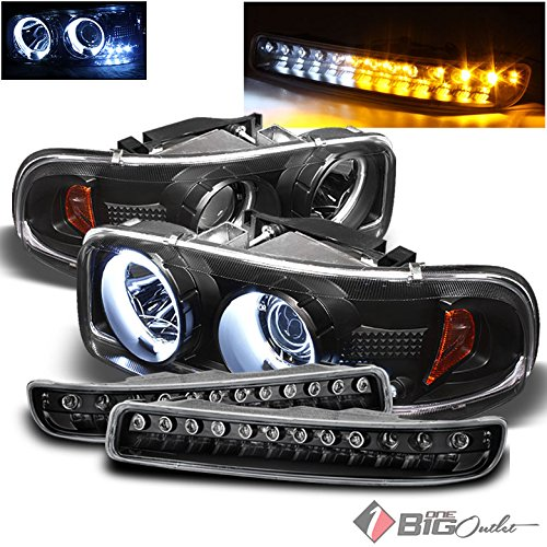 Xtune For 1999-2006 GMC Sierra, 2000-2006 Yukon Black Halo Projector Headlights + Bumper Lights w/DRL LED Set 2001 2002 2003 - Gmc Sierra Halo Projector