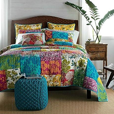 Amazon.com: Tache Floral Cotton 3 Piece Colorful Flower Power ... : colorful quilt sets - Adamdwight.com