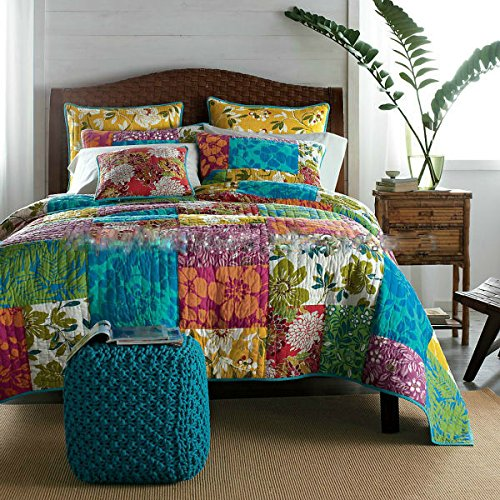 3 Piece Colorful Flower Power Party Quilt Set, Cal King