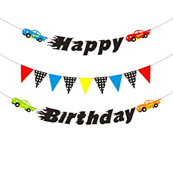 PANTIDE Race Cars Theme Birthday Banner, Checkered Pennant Banner Flags Birthday Party Decoration Supplies for Kids Boys Birthday