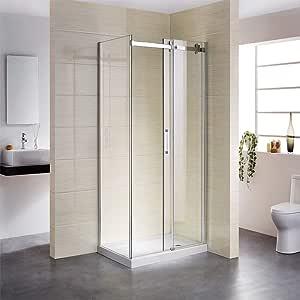Cabina de ducha con puerta corredera, 90 x 140, con rueda de acero ...