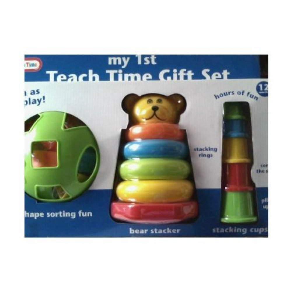 Teach Time Gift Set with Shape Sorter Bear Stacker Stacking Cups