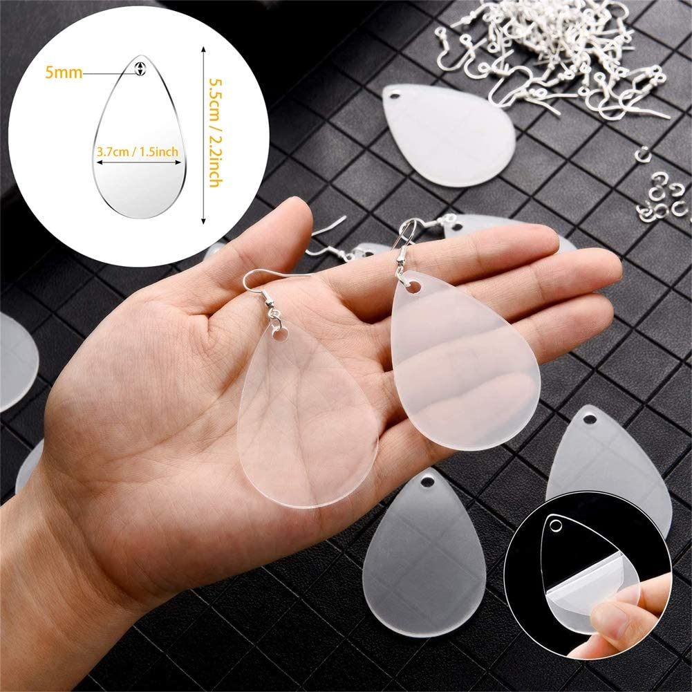 48 Pcs Acrylic Clear Earring Blanks Transparent Teardrop Earring Pendants with 60 Pcs Earring Hooks and 60 Pcs Open Jump Rings for Paint DIY Earrings Projects and Crafts