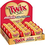 TWIX Valentine's Caramel Minis Size Chocolate Cookie Bar Candy-Filled Hearts 1.25-oz. Heart 12-Count Box