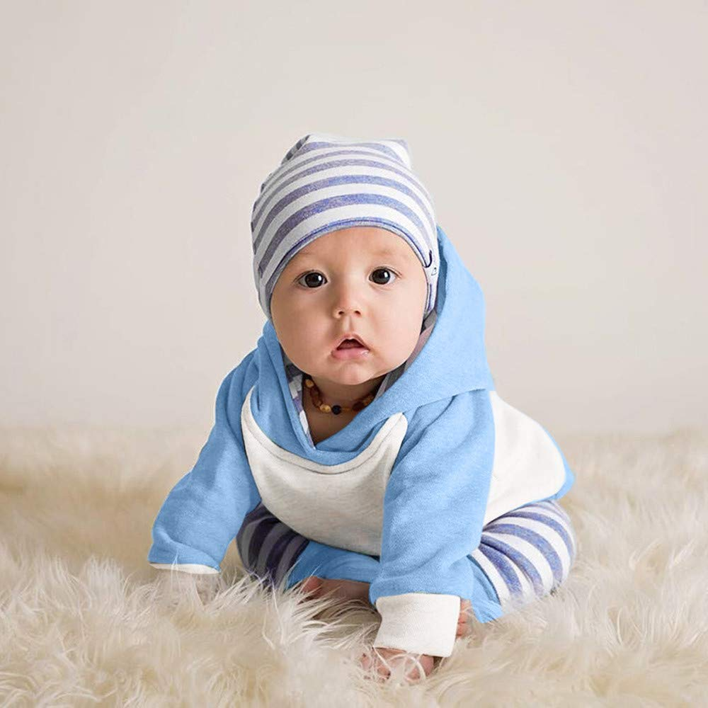 ZOMUSAR 3pcs Toddler Baby Boy Girl Clothes Set Hoodie Tops+Stripe Pants+Headband Outfits