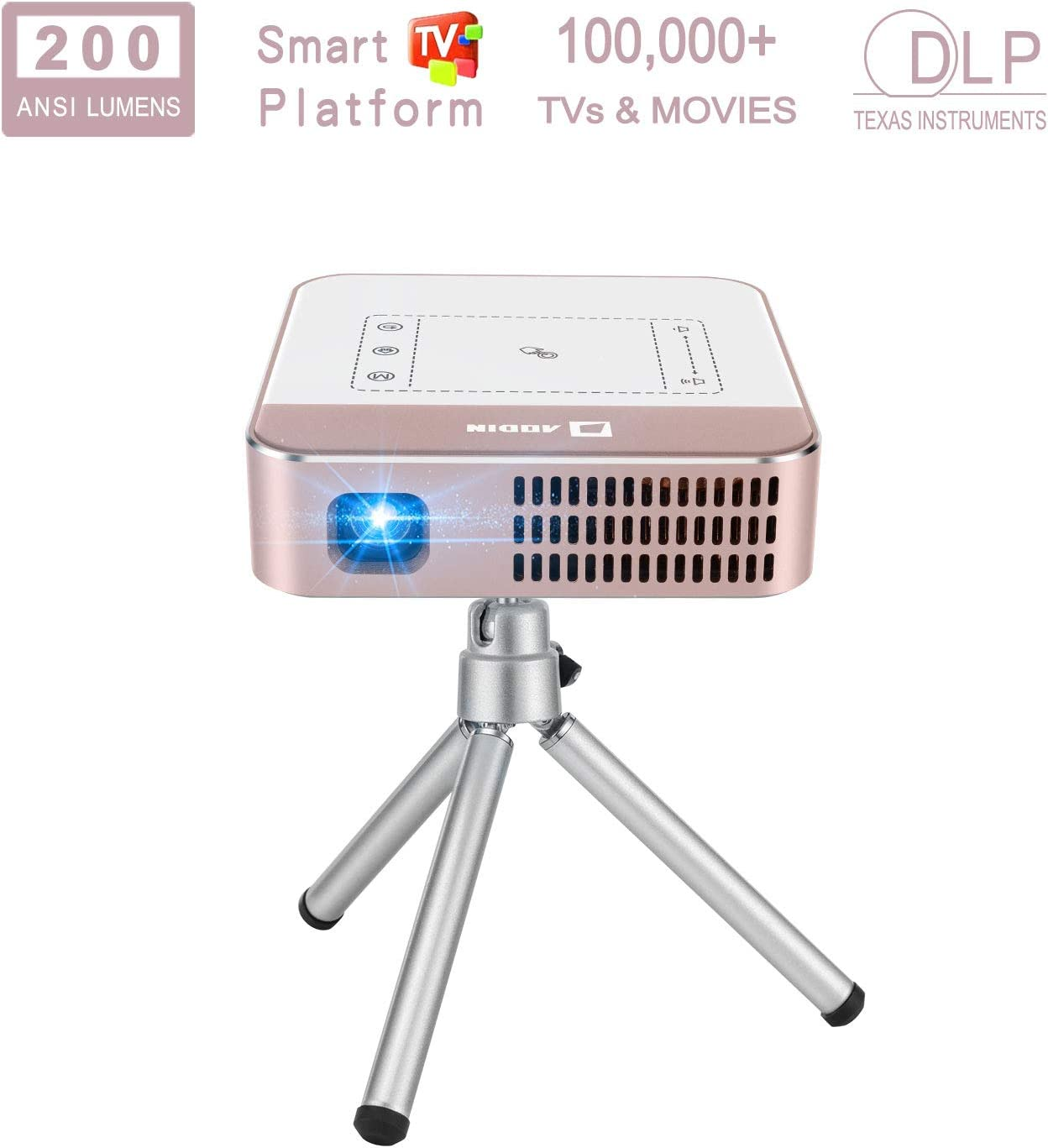 """AODIN Wow 200 ANSI Lumens Portable Projector, Mini LED WiFi Smart Projector, Outdoor Movie Projector, 300"""" Bright & Clear Image, Stereo Speaker, Support Smartphone, Tablet, Laptop, PC, 2 Hours Working"""