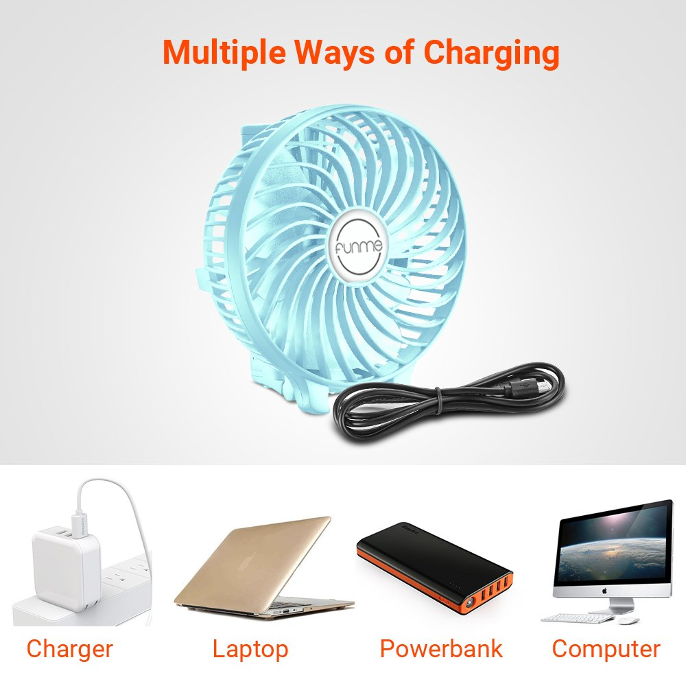 Funme Portable Handheld Fan Mini USB Cooling Fan Foldable Handle Desktop Fan Electric Fans with 2600mAh Rechargeable Battery for Home Office Travel Camping Outdoor 3 Speed Modes, Pink