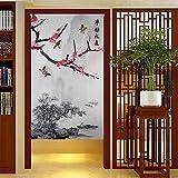 kitchen door restaurant - Chinese Traditional Ink Landscape and Plum Trees Washpainting Door Curtain Noren Bedroom Doorway Curtain (Grey)