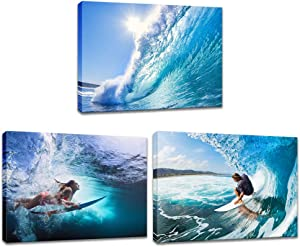 Innopics Surf Tropical Sea Wave Canvas Print Wall Art Surfer Surfing Water Sport Picture Painting Blue Ocean Modern Photography Decor 3 Piece Framed Artwork for Home Office Bedroom Bathroom Decoration
