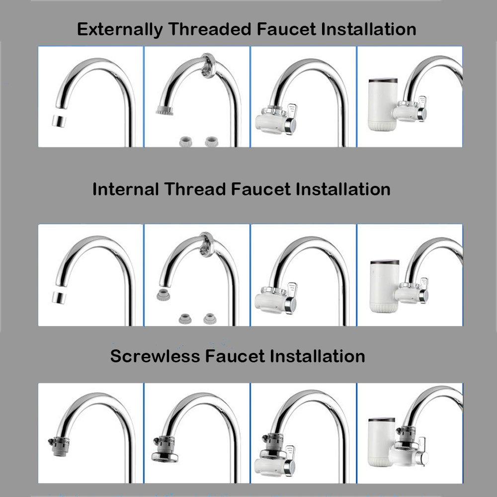 Cocina Inteligente Faucet Instalación Libre Electric Faucet Pantalla De Temperatura De Grifo Caliente Y Fría 3000W 220V Calentador De Agua Eléctrico: ...