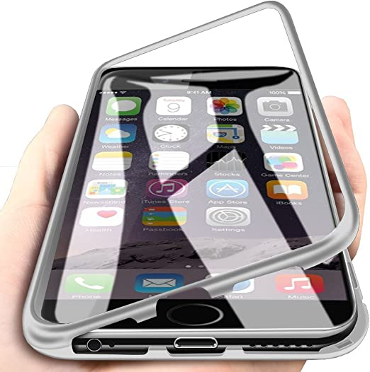 iPhone 6 Coque, iPhone 6s Coque, Windcase hybride Aluminium Métal Bumper Frame DOS en verre trempé 2 en 1 magnétique Adsorption Coque pour iPhone ...