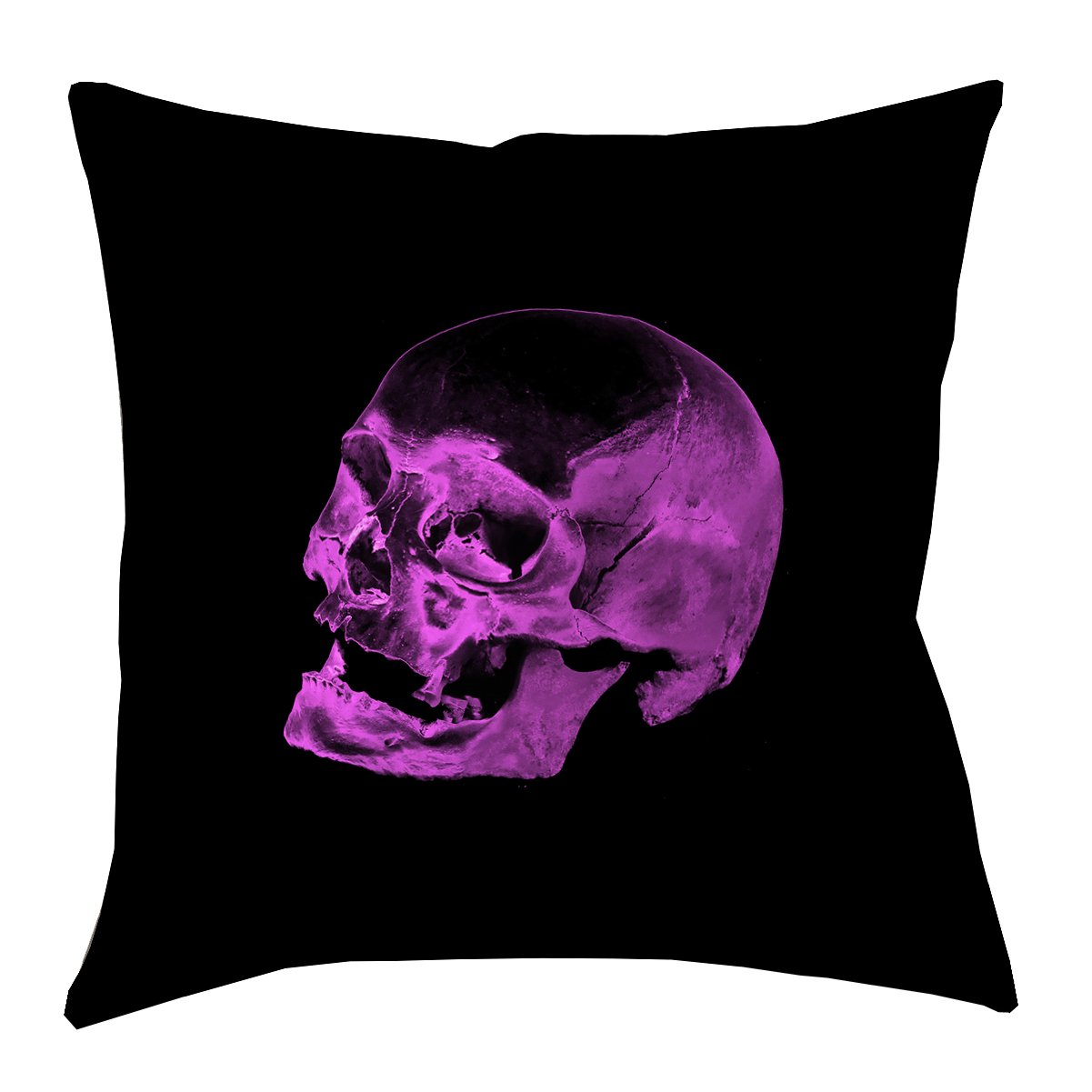 ArtVerse Katelyn Smith 40'' x 40'' Floor Double Sided Print with Concealed Zipper & Insert Purple Skull Pillow,