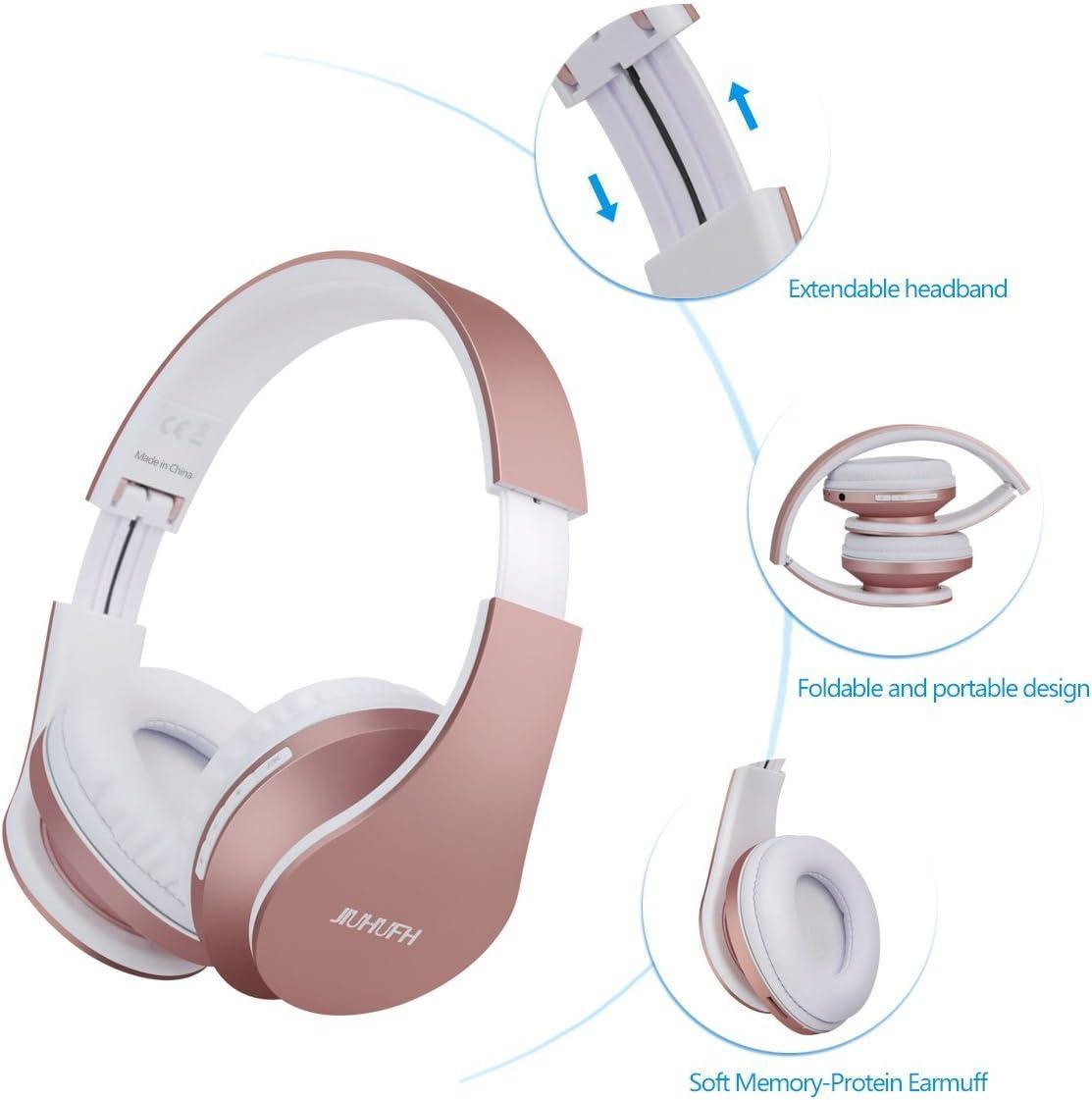 JIUHUFH Casques sans Fil Bluetooth CasqueConstruit sur L'oreille avec Écouteurs en MicroRéglable StandStereo Écouteurs pour IphonePcTéléphoneTV