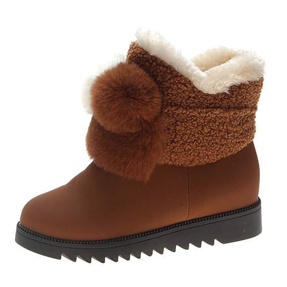 SamMoSon Botas Mujer Altas por Encima De La Rodilla,Zapatos Planos De Invierno para Mujeres Mantener Cálidas Botas para La Nieve Botas Sin Cordones De ...