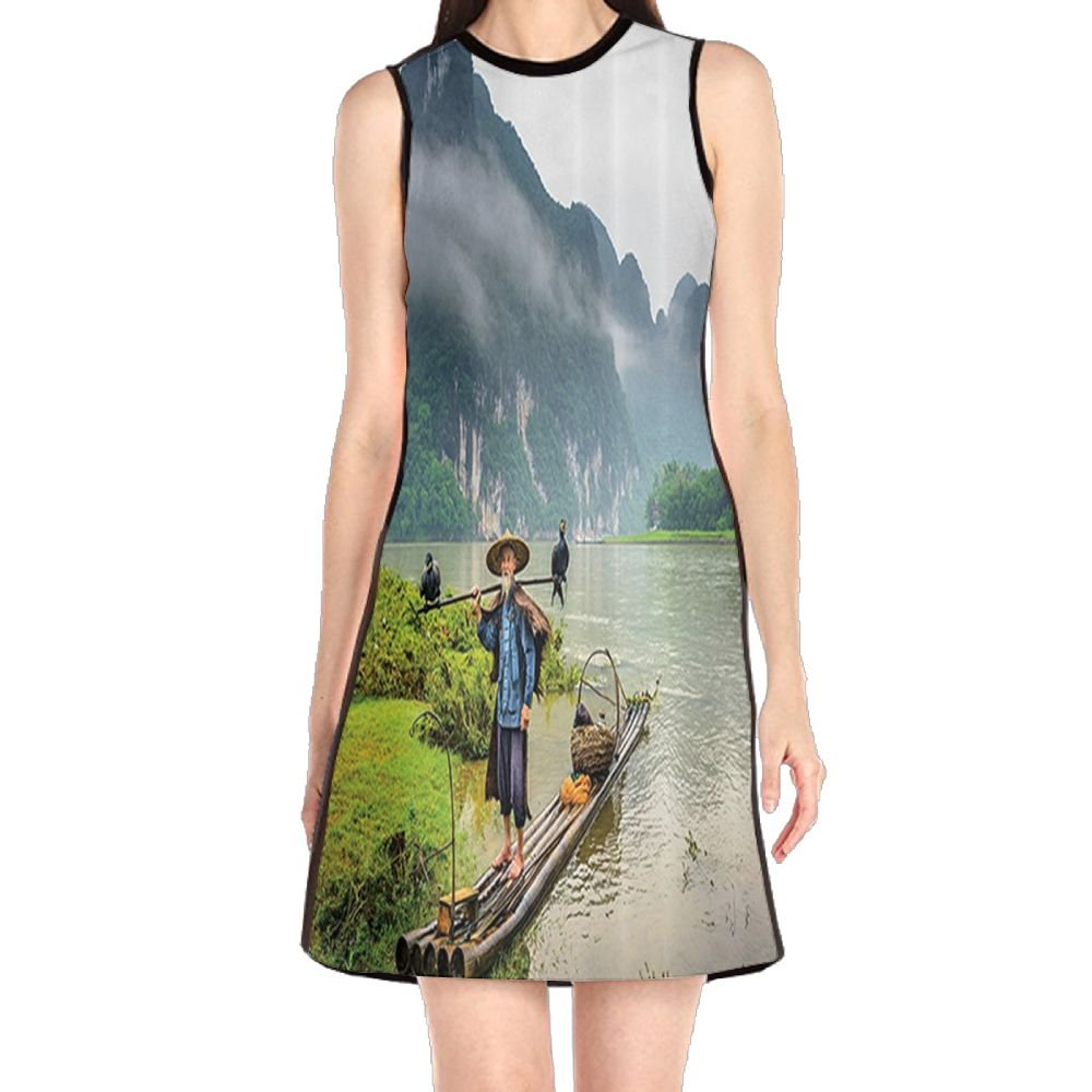 MONILO Chinese Traditional Fisherman with Bird and Basket in River Fog  Mountain Nature Trees Women s Lady Sleeveless Mini Dress Print Party Dress  Tank Dress 3bb1b70012