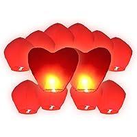 Lot de 12 Lanterne volante rouge inclus 2 coeur rouge géant pour fête mariage amoureux soirée cœur love décoration luminaire special