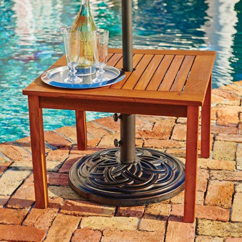(Outdoor Natural Finish Eucalyptus Wood Umbrella Side Table End Table Patio Pool)
