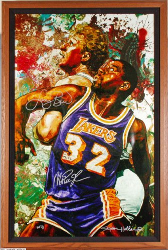 Celtics Larry Bird & Lakers Magic Johnson Signed Artist Proof Canvas 47X31 Giclee Also Signed by Artist Stephen Holland (AP 16/16) - Bird Giclee Canvas