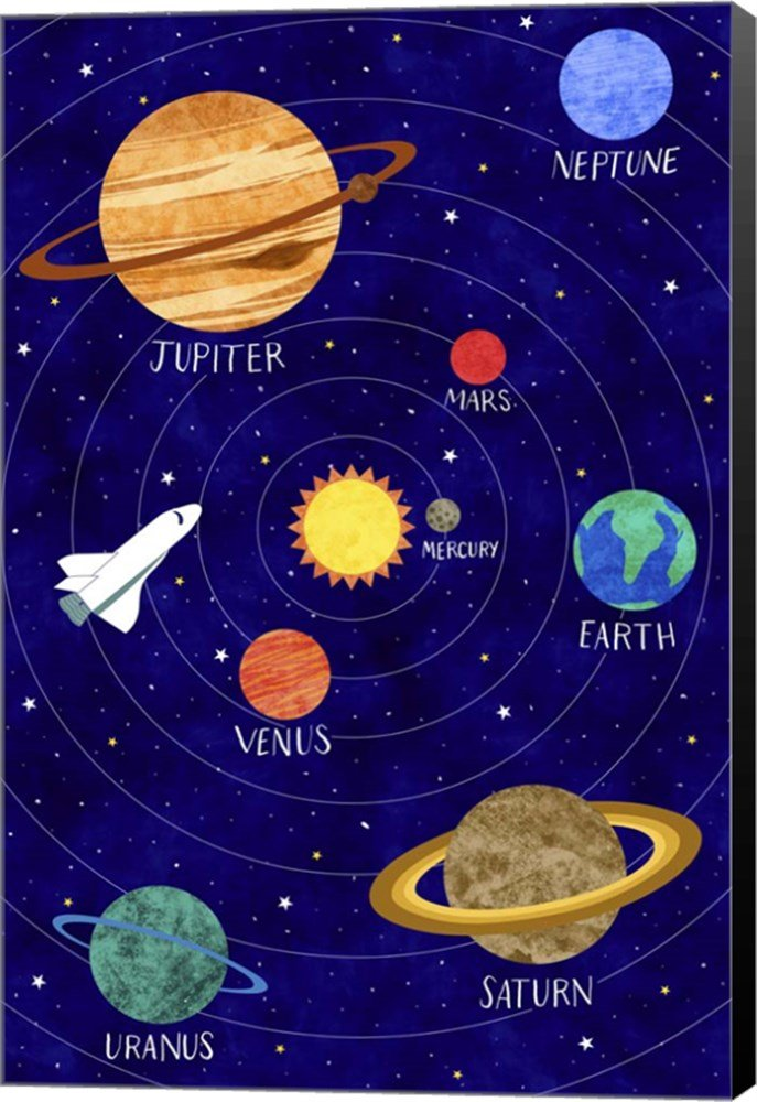 Solar System by Elizabeth Caldwell Canvas Art Wall Picture, Museum Wrapped with Black Sides, 11 x 16 inches