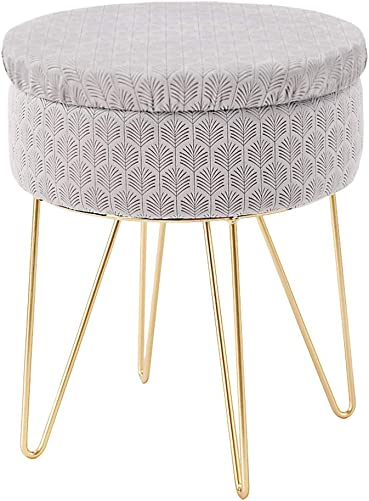 Mxfurhawa Velvet Round Footrest Stool Ottoman, Modern Upholstered Vanity Pouffe Stool Storage Function Side Table Seat Dressing Chair for Bedroom Living Room with Golden Metal Leg Grey