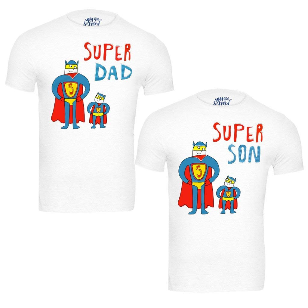 b5e512d6 Bon Organik Super Dad and Son White Best Family Matching Father and Son  Tees-Dad and Son Combo Tshirts: Amazon.in: Clothing & Accessories