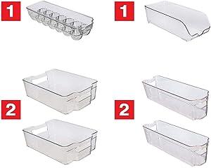 Kitchenmate KM-212 Fridge Freezer Organizer Refrigerator Bins Stackable Storage Containers (6-Piece Clear)