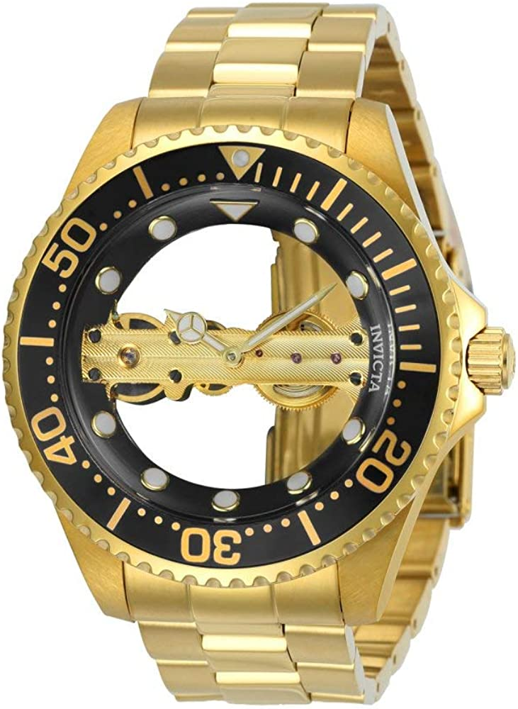 Invicta Men s Pro Diver Mechanical-Hand-Wind Stainless-Steel Strap, Gold, 22 Casual Watch Model 24694