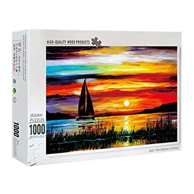 Li Ping Sunset/Cat and Fish/Windmill-1000 Piece Large Jigsaw Puzzle-Adult Children Puzzle Toy (Sunset): Toys & Games