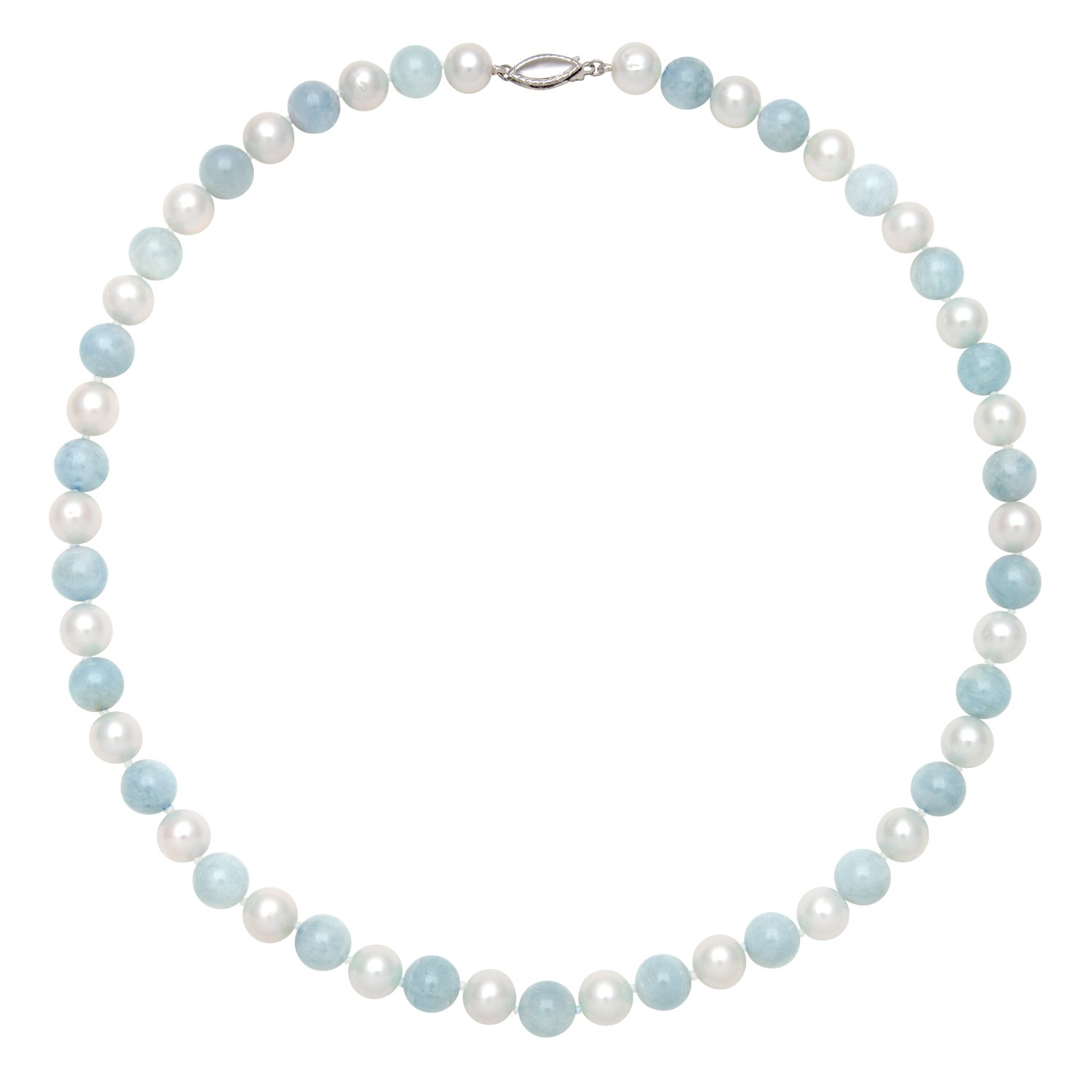 Sterling Silver Cultured Freshwater Pearl and Natural Milky Aquamarine Gemstone Strand Necklace, 18''