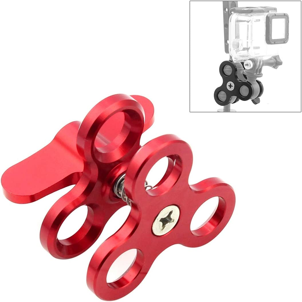 Color : Red JINGZ Triple Ball Clamp Close Hole Diving Camera Bracket CNC Aluminum Spring Flashlight Clamp for Diving Underwater Photography System Durable