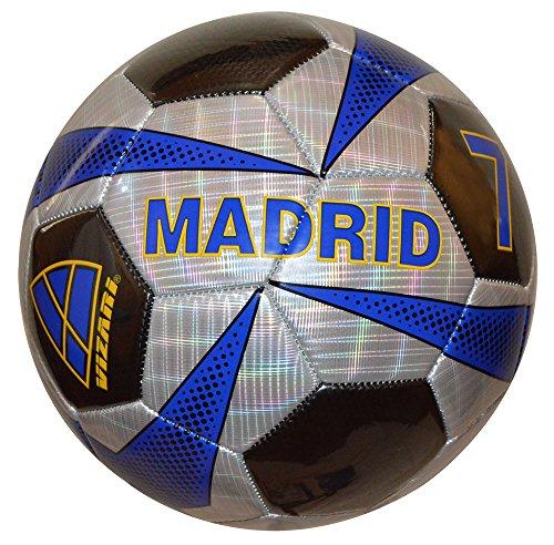 (Vizari Madrid Soccer Ball, Silver/Black, Size)