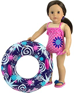 1eaf334248 18 Inch Doll Swimwear, Hot Pink Polka Dot Bathing Suit & Summer Inner Tube,