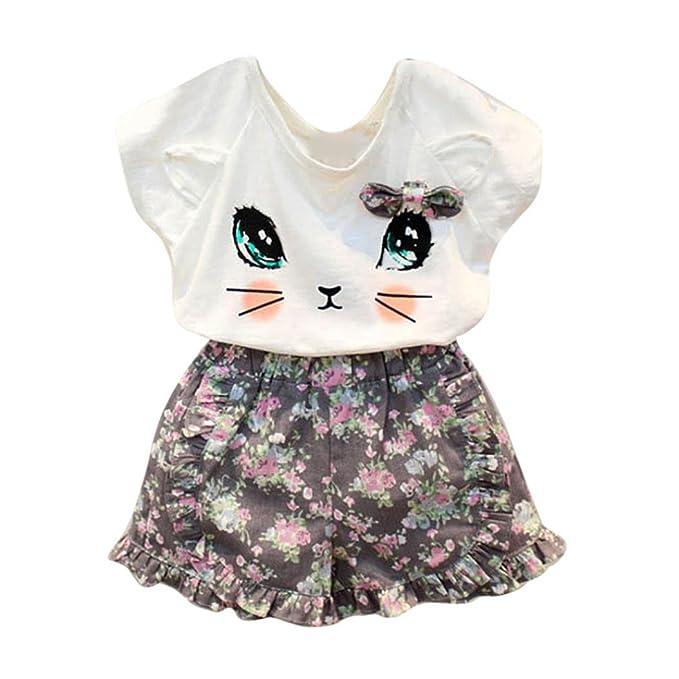 438bdd263c13 Bekleidung Longra Baby Kinder Mädchen Sommer-Outfit Kleidung süße Katze Kurzarm  T-Shirt +