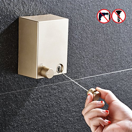 BESy Retractable Clothesline ABS case+Aluminum Dryer with Adjustable Pulley and Braided Stainless Steel Wire Hotel Style, No Drilling & Wall Mounted Method, 13.8 Feets,Golden - Pulley Clothes Dryer