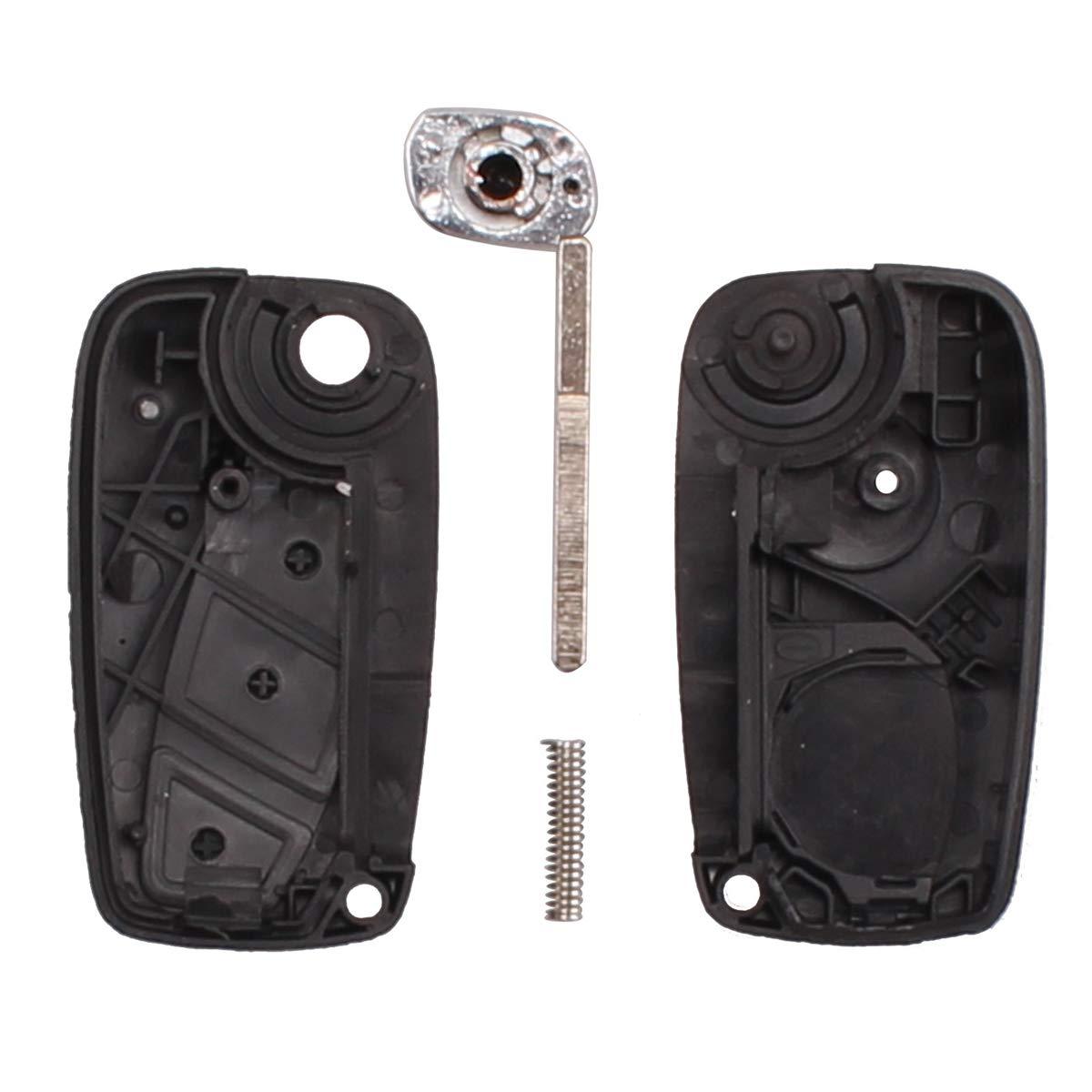 Heart Horse Flip Folding Remote 3 Buttons Car Cover Key Fob Key Case Compatible with Fiat Punto Ducato Stilo Panda Idea Doblo Bravo Blue