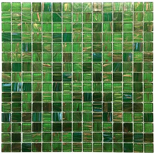 1 Tile Box - Emerald Green Iridescent Glass Backsplash Mesh-Mounted 3/4 x 3/4