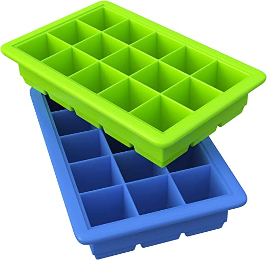 Silicone Ice Cube Molds Blue /& Green Stackable Durable Ouddy 4 Pack Ice Cube Trays with Lid 14-Ice Trays Can Make 56 Ice Cubes