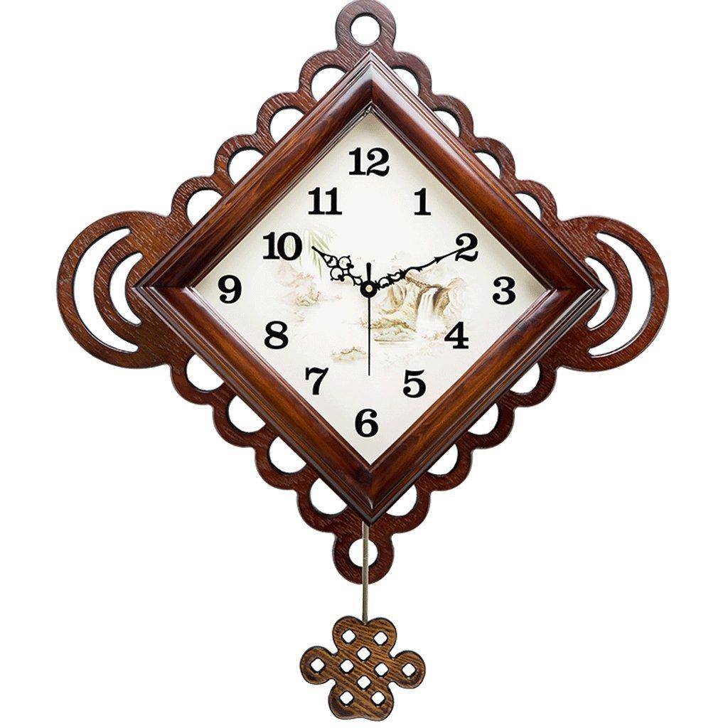 時計スイングリビングルームの壁時計クリエイティブモダンミュートレトロ時計クォーツ時計20インチ (色 : A) B07F26FQH7A