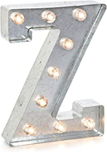 """Darice Silver Metal Marquee Letter – Z-9.87"""" Tall, Galvanized Finish"""