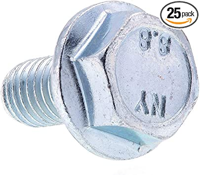 M8-1.25 X 16MM Zinc Plated Steel 25-Pack Class 8.8 Metric Prime-Line 9089475 Flange Bolts