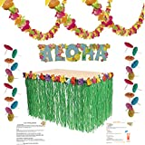 Luau Party Supplies Kit: Lei Garland (100 ft), Grass Table Skirt, Aloha Sign, 144 Paper Cocktail Umbrellas, Hawaiian Party Game Ideas and Luau Drink Recipes