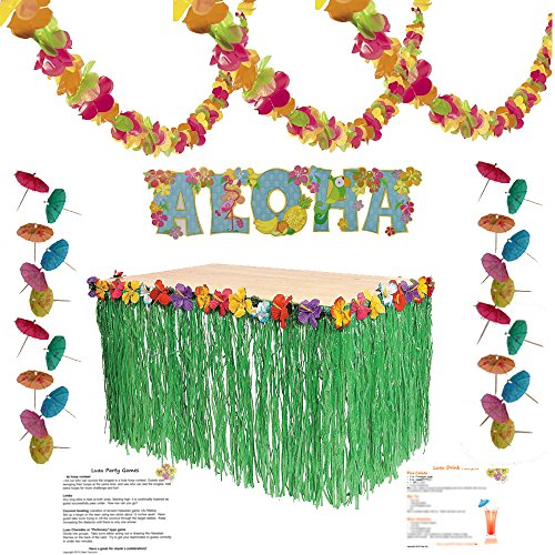 (Luau Party Supplies Kit: Lei Garland (100 ft), Grass Table Skirt, Aloha Sign, 144 Paper Cocktail Umbrellas, Hawaiian Party Game Ideas and Luau Drink)