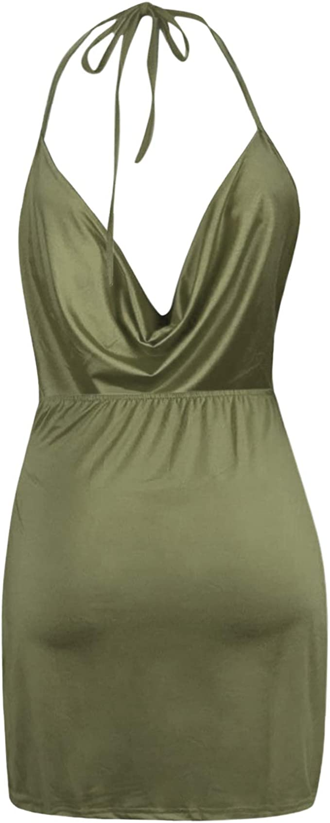 XXBlosom Womens Bodycon Sleeveless Halter Clubwear Backless Cut Out Party Mini Dress