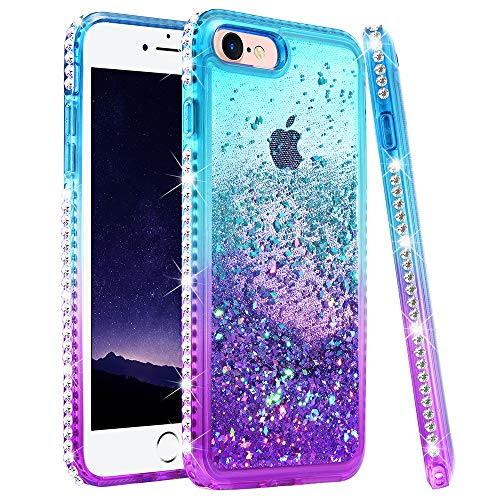 iPhone 8 Case, iPhone 7 Glitter Case for Girls Women, Ruky Colorful Quicksand Series Bling Sparkly Diamond Flowing Liquid Floating Soft TPU Protective Girly Cute Case for iPhone 6 6s 7 8 (Teal Purple)