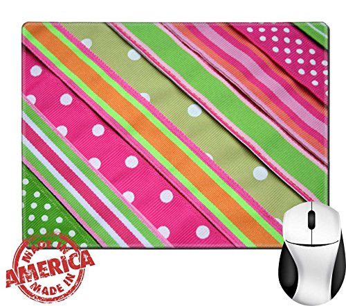 "Luxlady Natural Rubber Mouse Pad/Mat with Stitched Edges 9.8"" x 7.9"" Preppy background IMAGE ID (Stitched Grosgrain)"